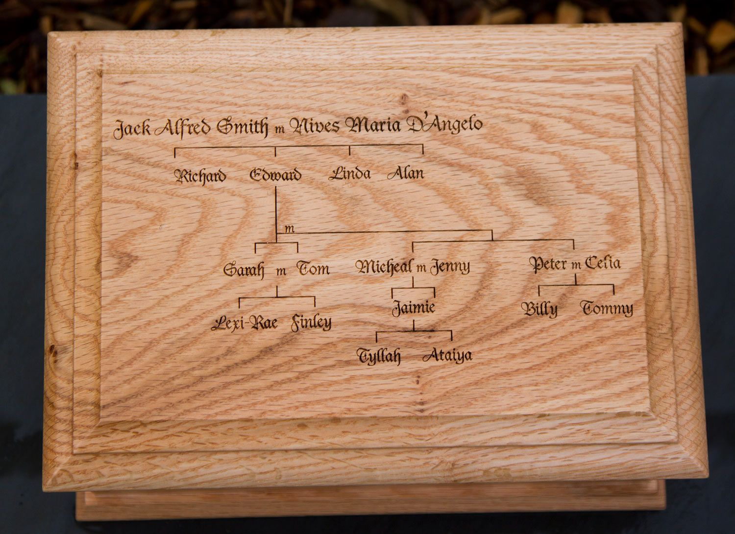 Standard Oak Casket With Lasered Top| The Sign Maker Shop